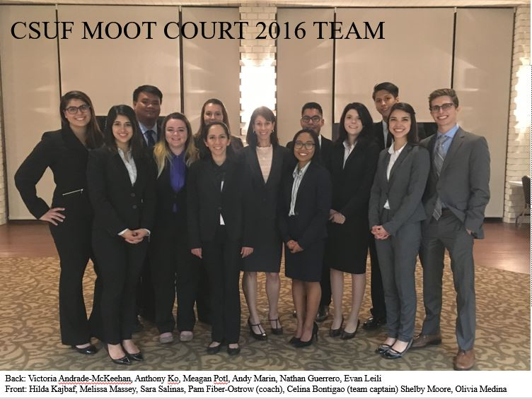 CSUF Moot Court 2016 team